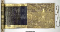 Lotus Sutra, 1636 : lavishly decorated manuscript of the eighth chapter of the 'Lotus Sutra', an ancient Buddhist text, is written in gold on indigo-dyed paper. Buddhist Words, Buddhist Texts, Buddhist Art, Sutra Du Lotus, Branches Of Buddhism, History Of Buddhism, Mahayana Buddhism, Lotus Art, British Library