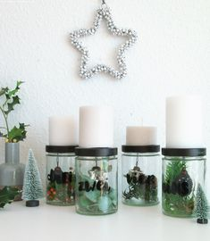 Yule, At Home Workouts, Candle Holders, Christmas Decorations, Xmas, Candles, Diy Upcycling, Last Minute, Zero Waste