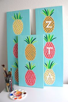 Pineapple Sorority Canvas with Customizable by fretzyetsyshop