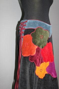 Nickirock  / Nepalkleidung / Samtrock       toller langer Nicki/Samtrock, erfrischender Farben mix, perfekt für die Frühlingstage