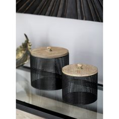 Litton Lane Black Iron Mesh Round Canisters with Wooden Lid (Set of 22652 - The Home Depot Metal Storage Containers, Storage Canisters, Storage Spaces, Building A Container Home, Container House Design, Small Dining, Simple Colors, Room Themes