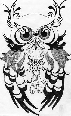 Dis Bitch be loving owls Colouring Pages, Adult Coloring Pages, Coloring Books, Owl Tattoo Design, Wood Burning Patterns, Owl Crafts, Owl Art, Doodle Art, Painting & Drawing