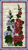 Stained Glass Pattern Hollyhocks