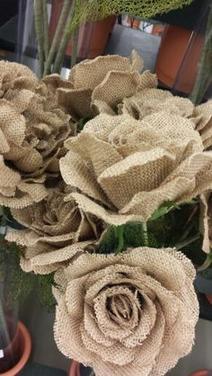Burlap flowers from hobby lobby -- These are beautiful too. You have a Hobby Lobby in Spokane Valley right? Burlap Lace, Burlap Flowers, Diy Flowers, Burlap Wreath, Fabric Flowers, Paper Flowers, Hessian, Burlap Projects, Burlap Crafts