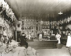 Vintage Butcher Shop At Thanksgiving Turkeys hanging