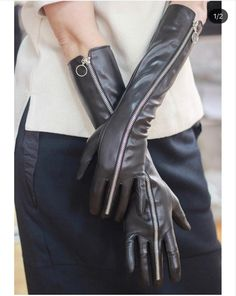 Long Leather Opera Gloves with Zipper, Sexy Long Leather Gloves, Long Leather Women Gloves, Black Gloves Leather Whip, Black Leather Gloves, Elegant Gloves, Smart Outfit, Long Gloves, Vintage Grunge, Leather Cleaning, Leather Fashion, Womens Fashion