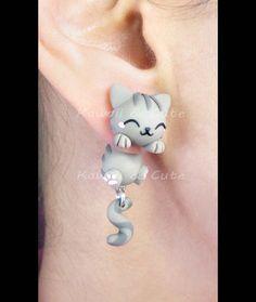 Chats de boucles d'oreilles gris Cuelgaorejas par KawaiiandCute2008