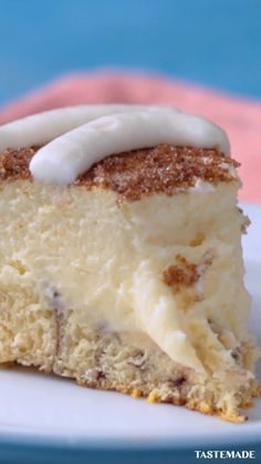 Level up your cheesecake with a cinnamon roll crust, dusted in brown sugar and drizzled with cream cheese frosting.