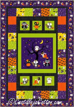 Woodland Haunt Quilt Pattern Easy to make Halloween quilt using a pre-printed panel. Fabric shown is Woodland Haunt Collection by Northcott Fabrics. Skill Level: Advanced Beginner Finished Size: x Pattern designed by: Diane McGregor of Castilleja Cotton Halloween Quilt Kits, Halloween Sewing, Halloween Patterns, Halloween Projects, Halloween Ideas, Quilting Projects, Quilting Designs, Baby Boy Quilts, Kid Quilts