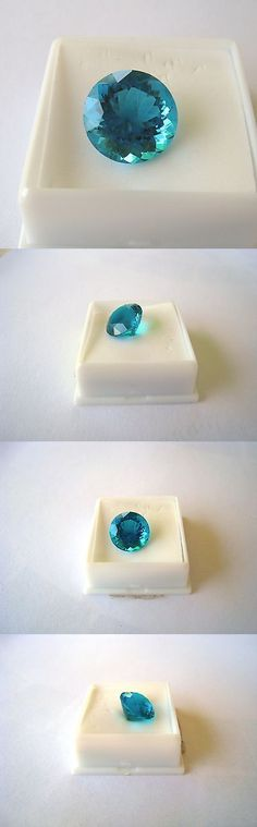 Other Loose Stones 169310: Loose 9.00 Ct 14 Mm Round Tealish-Blue Paraiba Ice Simulant Gemstone BUY IT NOW ONLY: $69.0