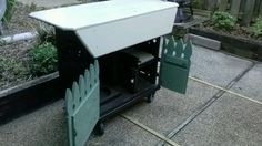 serving cart storage converted from a gas grill.