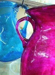 turquoise blue & magenta glass