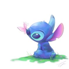 This... but a ladybug instead of a butterfly. Stitch's spring by takeclaire.deviantart.com on @deviantART