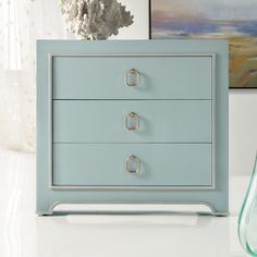"Features:  -Three drawers.  -Poplar and hardwood solids.  -Blue color.  Base Material: -Manufactured wood.  Hardware Finish: -Bronze. Dimensions:  Overall Height - Top to Bottom: -33"".  Overall Width"