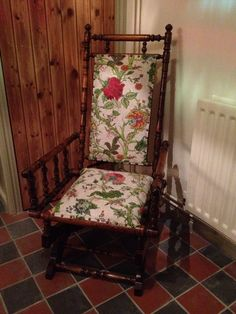 Victorian American rocking chair. Bought it on eBay, French polished it and reupholstered.