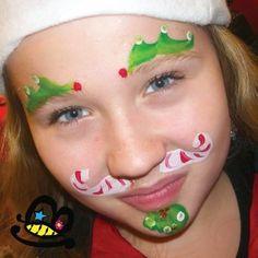 Candy Cane Mustache christmas cheek art face paint design