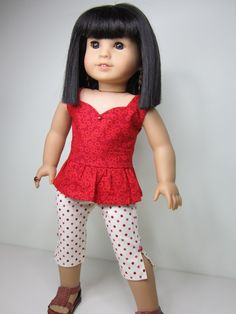 American Girl doll clothes Red peplum top with by JazzyDollDuds, $16.00