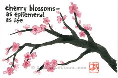 $36 Japanese cherry blossoms watercolor & ink painting on watercolor paper
