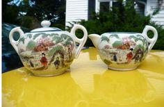 Vintage Hand Painted Japan Creamer and Sugar bowl set by Boulinn25, $24.00