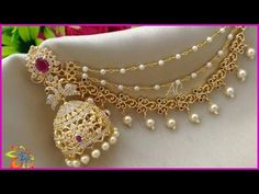 latest 1 gram gold champaswaralu with jumkas Ruby Necklace Designs, Jewelry Design Earrings, Fashion Earrings, Gold Bangles Design, Gold Jewellery Design, 1 Gram Gold Jewellery, Gold Jewelry, Diamond Jewellery, Indian Bridal Jewelry Sets