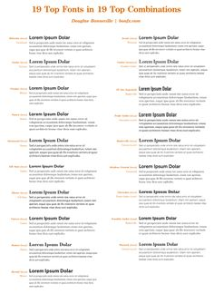 19 font combinations - such a useful reference for a graphic design amateur like myself!