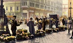Flower sellers in Sydney's Martin Place c1900 colourised