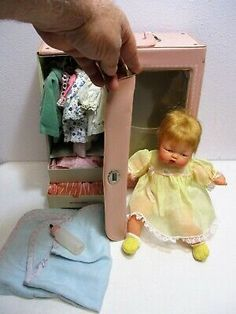 Wonderful Totally Free Vtg Tiny Thumbelina Doll OTT 14 & Case w Outfits & Accessories Ideal Toys Sleeping Gown, Trouser Hangers, Hair Plugs, Ideal Toys, Bonnet Hat, Plastic Pants, Plastic Design, Thing 1, Sleep Set