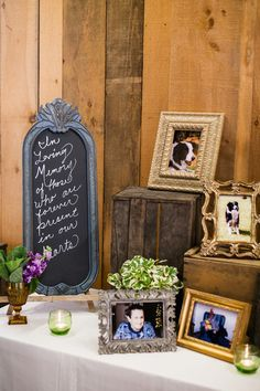 Darling display set up to remember those who could not be there {Abbey Grim Photography}