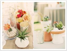 Succulent and cactus arrangements in terra cotta pots and hurricanes created interest on the table for this La Quinta desert wedding by Alchemy Fine Events