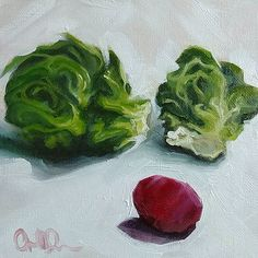 Three Way Face-Off, 6x6 inches, oil on canvas.  #oilpainting #studioartist #studioart #painter #painting #squarecanvas #6x6 #dailypainter #dailypainting #foodpainting #foodasart #brusselsprouts #2D #stilllifepainting #stilllifeart #art