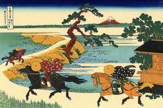 36 Views Or Mount Fuji - Katsushika Hokusai c. 1760 - 1849. This print is #22 being an ink print made from woodblock. Title - Barrier Town on the Sumida River. Sumidagawa Sekiya no sato. 隅田川関屋の里 .