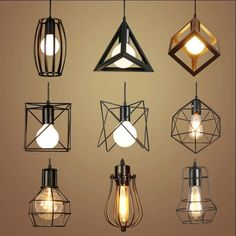 Retro interior lighting Vintage pendant light LED lights 24 types iron cage lampshade - All For Decoration Kitchen Led Lighting, Vintage Pendant Lighting, Indoor Lighting, Vintage Lighting, Diy Light Fixtures, Diy Lamp Shade, Pendant Lamps Bedroom, Interior Lighting, Vintage Light Fixtures