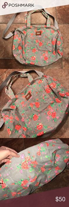 •PINK duffel• Great condition!! Rare pattern. No trades. MAKE OFFERS PINK Victoria's Secret Bags