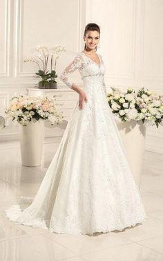 A Line Sweetheart Long Sleeve Lace&satin Dress