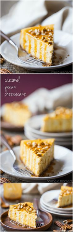 Caramel Pecan Cheesecake: so creamy and rich, with the most incredible nutty, caramel flavor! food desserts cheesecake via @bakingamoment