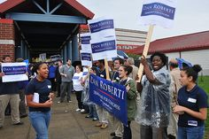 Waterbury--Supporters of Dan Roberti show their support outside the district 5 convention at Rotella Interdistrict Magnet School in Waterbury. Peter Casolino/New Haven Register Magnet School, Connecticut, Dan, The Outsiders, Broadway Shows, Politics, Political Books