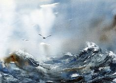 Sea Water, Watercolor by Anders andersson