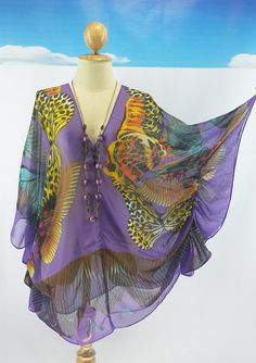 Beach Cover up Bikini Purple kaftan Scarf Shawl Hippie Chic Comportable Top dress Mini SheerDress Plus size see through colorful saxy Beach