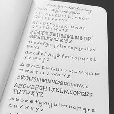 types of Handwriting Journal Fonts, Bullet Journal Writing, Bullet Journal Ideas Pages, Different Types Of Handwriting, Improve Your Handwriting, Different Writing Styles, Different Fonts, Pretty Handwriting, Handwriting Alphabet