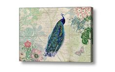 Peacock Art, Girlfriend Gift, Peacock Decor, Botanical Art, Peacock Wall Art, Girls Room Decor, Gifts for Girlfriend, Girly Gifts, Vintage