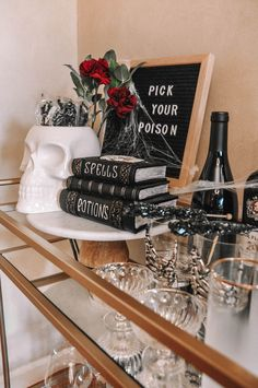 How to design the perfect Halloween bar cart with a few simple tips | Halloween bar cart decor, Halloween bar cart ideas #barcart #halloweendecor Halloween Crafts, Halloween Decorations, Pick Your Poison, Bar Cart Decor, Cocktails, New York Style, Bungalow, Cool Style, Simple