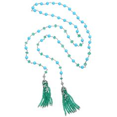 Cathy Waterman Emerald & Turquoise Tassel Necklace | From a unique collection of vintage beaded necklaces at http://www.1stdibs.com/jewelry/necklaces/beaded-necklaces/