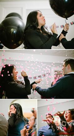Fun Gender Reveal Party with chic black balloons concealing the surprise.
