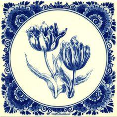 DELFTS BLAUW TEGEL 2 TULPEN - Delfts blauw tegels - Holland Souvenir Shop