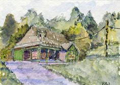 Original Watercolor ACEO Impressionism, Cabin, Landscape, Art Card, B. Jones #Impressionism