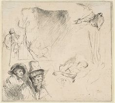 Rembrandt : Sheet of Studies with a Woman Lying Ill in Bed, etc.