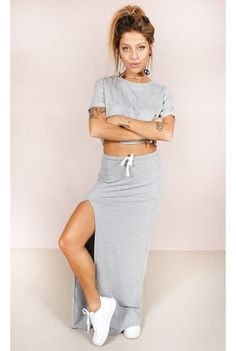 Saia Moletinho Riri Cinza Fashion Closet - fashioncloset