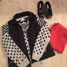 polka dots, vest, red jeans