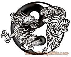 Famous Dragon Tiger Tattoo Design