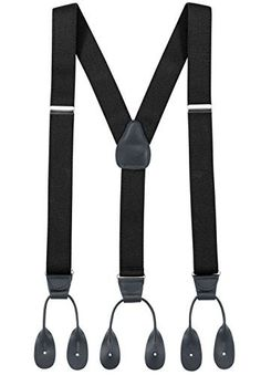 Mens Dress Suspenders Elastic Y-back Fully Adjustable Button end Suspender - Made in USA - With Genuine Leather Button Tabs and Crosspatch Keep your pants ship-shape and neat! With this Y Back Button End Adjustable Suspender you will look stylish and sophisticated. Its durability and super fit will never afford you to wear your Pants without 'em! These Elastic Suspenders feature silver tone nickel hardware and leather trim. Button tabs instead of drop clips give these
